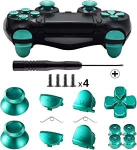 TOMSIN Metal Buttons for DualShock 4, Aluminum Metal Thumbsticks Analog Grip & Bullet Buttons & D-pad & L1 R1 L2 R2 Trigger for PS4 Controller Gen 1 (Green)