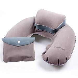Anself Portable pliant Cale-nuque coussin de nuque oreiller d?Air gonflable Forme de U en PVC flocage pour Camping Voyage Bureau Avion Hôtel