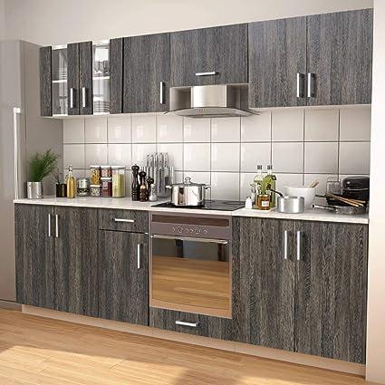 Honglianghongshang Cupboards Kitchen Cupboards 8 Pieces Kitchen Unit Set With Cooker Hood Wenge Effect Amazon De Garten