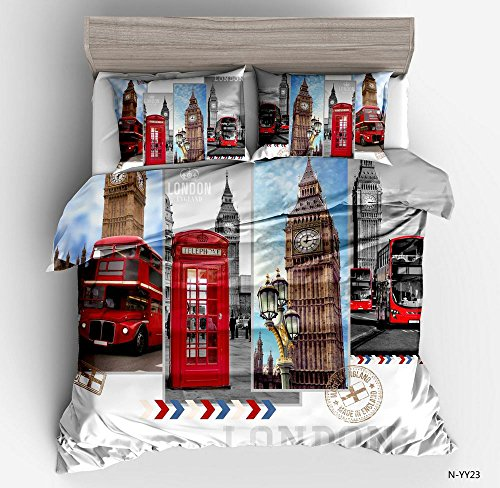 Gorgeous British Big Ben Telephone Box Cotton Microfiber 3pc 104''x90'' Bedding Quilt Duvet Cover Sets 2 Pillow Cases King Size by DIY Duvetcover