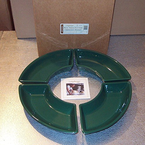Longaberger Pottery Dishes Crescent Green Ivy Made In USA New In Box Set of -