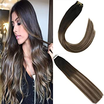JoYoung 16inch Tape in Balayage Human Hair Extensions Off Black Fading to  Brown with Ash Blonde Skin