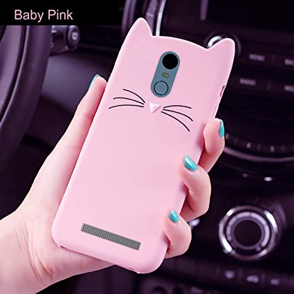quality design 60daa fe5b5 ERIT XIAOMI REDMI Note 3 [3D Cartoon Series] 3D Cute Cat Meow Soft Silicone  Back Cover for REDMI Note 3 - (Baby Pink) 3D Meow Party Bread Cat Kitty ...