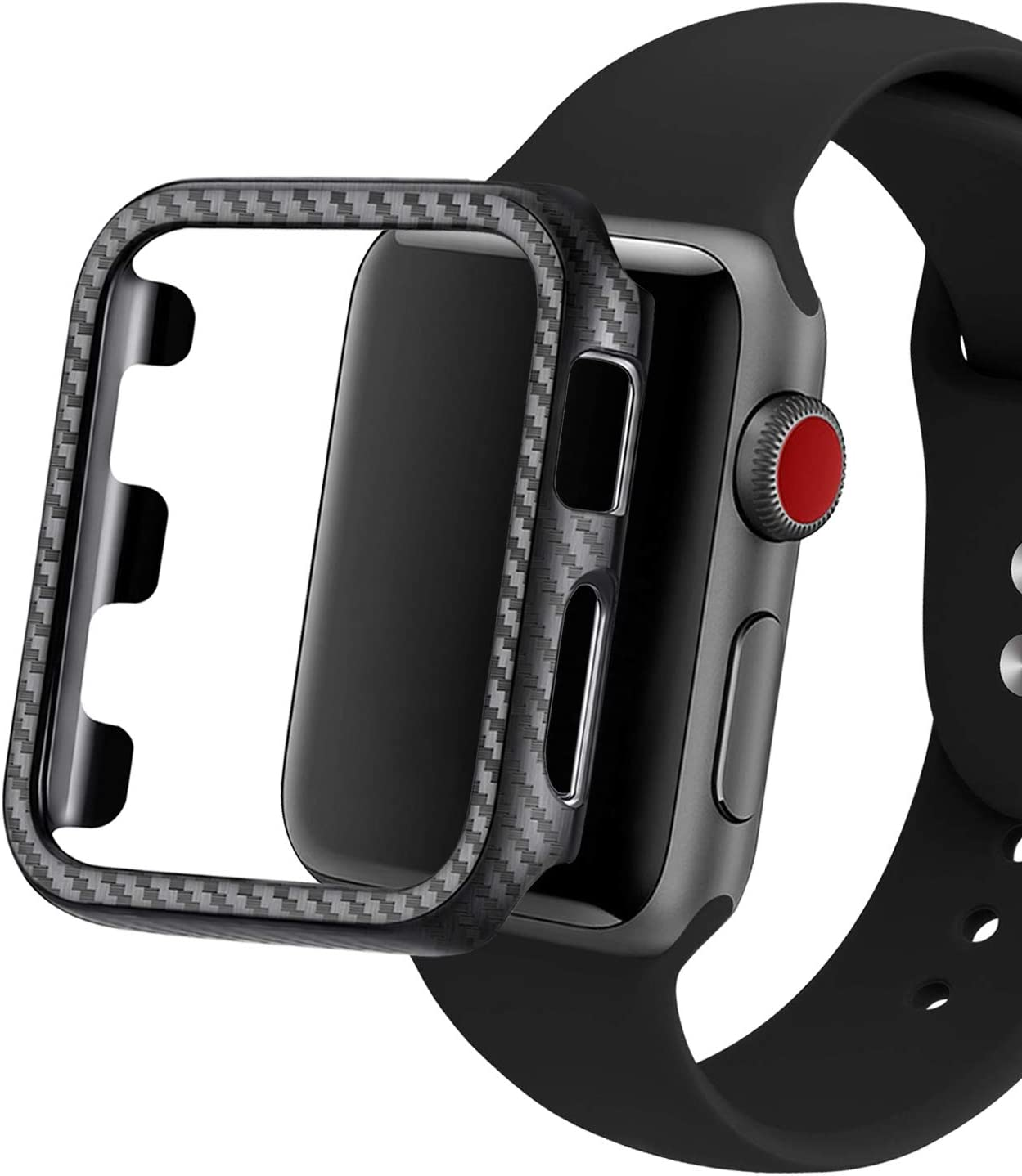 Carbon Fiber Texture Protective Cover for Apple Watch 42mm ,Shockproof Hard iWatch Case for Series 3/2/1 (Black, 42mm)