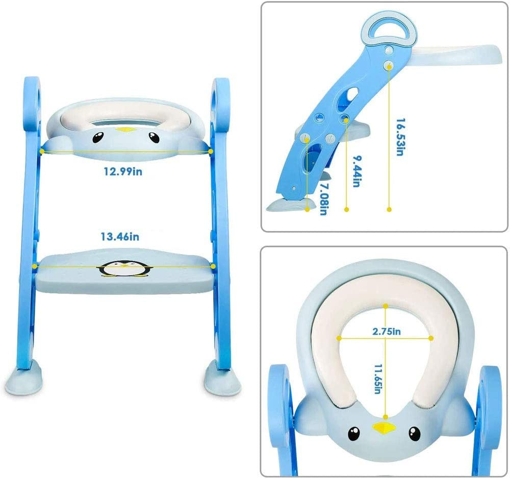 Potty Training Toilet seat Toddler Toilet Training Seats with Ladder and Stairs Armrests PU Padded Non-Slip Height Adjustable