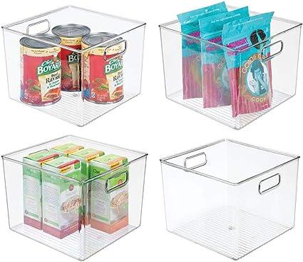 Capacit/à 3,1 litri trasparente Organizer frigorifero per mantenere al fresco il cibo mDesign Set da 4 Contenitori per alimenti con coperchio Scatole in plastica impilabili con coperchio