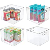 mDesign Plastic Food Storage Container Bin with Handles - for Kitchen, Pantry, Cabinet, Fridge/Freezer - Large Organizer for