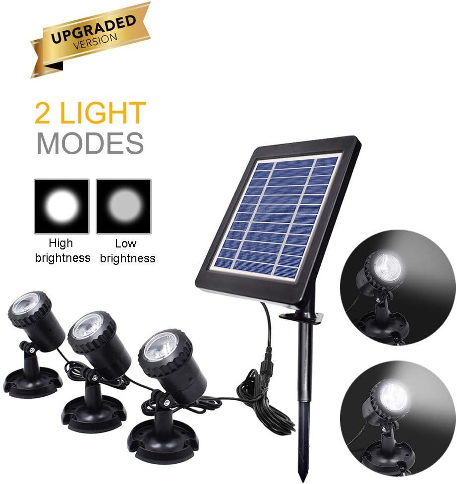Luces solares para estanques Proyector para exteriores Focos subacuáticos Lámpara sumergible LED con 2 modos para piscina, estanque, jardín, patio, pared, camino (3 heads cool white)
