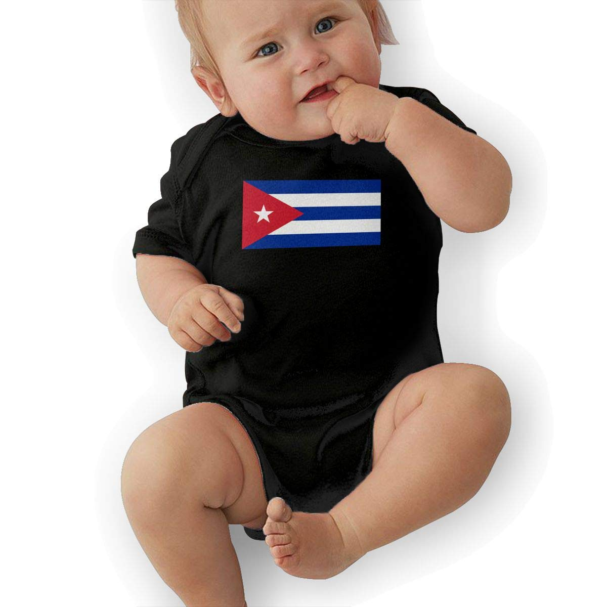 U88oi-8 Short Sleeve Cotton Bodysuit for Baby Girls Boys Cute Cuba Flag Crawler