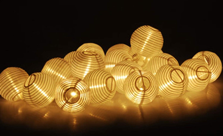Guirnalda de farolillos LED 20 farolillos LED de color blanco c/álido 10,75 metros con enchufe de red no alimentado por pilas