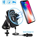 Wireless Charger Car Mount Holder,Fast Wireless Charging Car Mount for Iphone 8/8plus/X, Samsung Galaxy Note 8 S8/S8 Plus S7 Edge and other QI Devices
