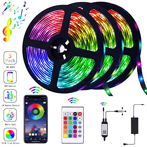 39.42FT/12m LED Strip Lights Flexible Strip Light with Bluetooth Controller Changing Tape Lights kit with LED Sync to Music for TV, Bedroom, Kitchen Under Counter, Under Bed Lighting (3×4M) (Flexible Led)