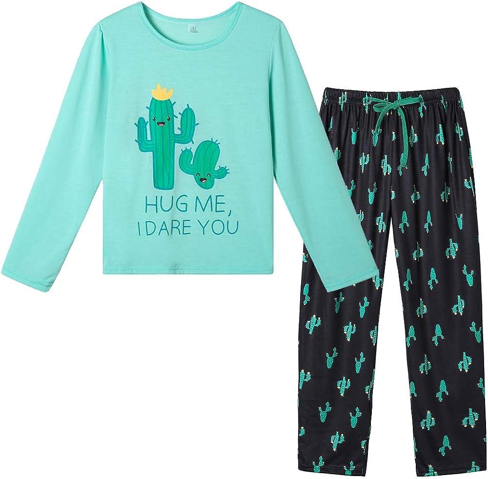 Yijiu Women S Pajamas Set Cute Cactus Penguin Print Long Sleeve Sleepwear Alpaca Winter Pjs Cactus Medium At Amazon Women S Clothing Store