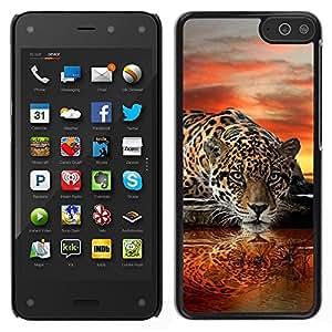 Stuss Case / Funda Carcasa protectora - Leopard Water Mirror Art Sunset Big Cat - Amazon Fire Phone