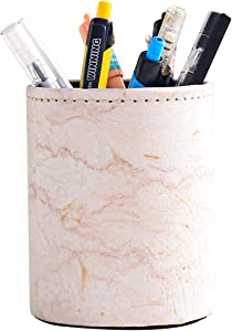 Pen Pencil Holder, Floral Flower Pattern Pen Cup Container PU Leather Desk Organizer Stand Decor Brush Scissor Holder Desk Organizer Decoration for Office Desk Home Decorative (3.1X4.1in(PG-35))