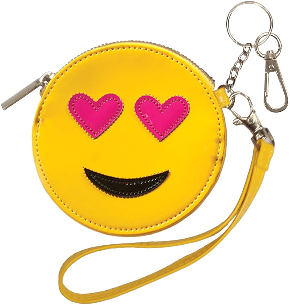 iscream Girls' Wristlet Clutch Coin and Key Purse in Faux Patent Leather, Emoji Besties Collection