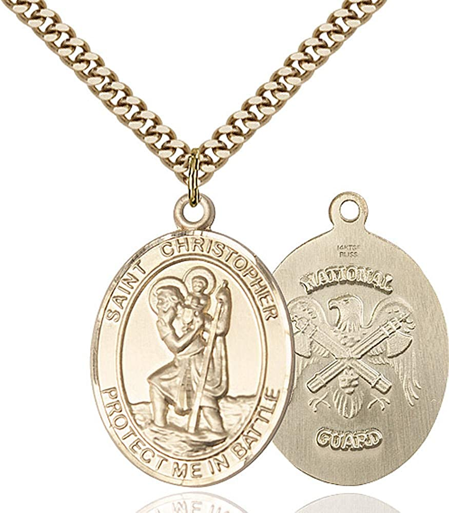 Christopher Pendant 14kt Gold Filled St Gold Plate Heavy Curb Chain Patron Saint Travelers//Motorists 1 x 1 1//4