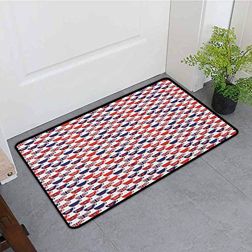ONECUTE Outdoor Doormat,London Tea Party Theme Flag Pattern Cups Traditional Drink Independence Day,All Season Universal,24