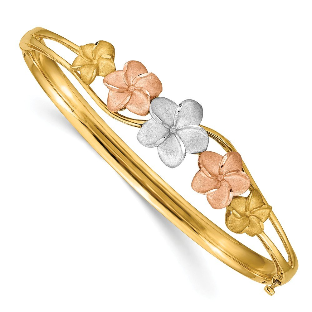 14k Yellow Gold Tri Color Plumeria Bangle Bracelet Cuff Expandable Stackable Fine Jewelry Gifts For Women For Her