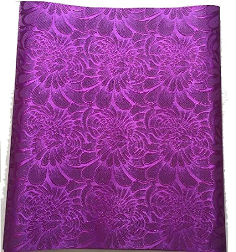 1pcs Embroidered Purple African Fabric Sego Gele for Headtie, Head Gear, Men's Hat. 2.5 Yards By 18