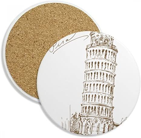 Amazon Com Leaning Tower Of Pisa Italy Pisa Coaster Cup Mug Tabletop Protection Absorbent Stone Coasters