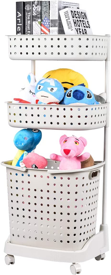 Sunix Carrito de Cesta de lavandería de 3 Niveles, Carrito de plástico Almacenamiento Organizador de lavandería clasificador con Cesta extraíble