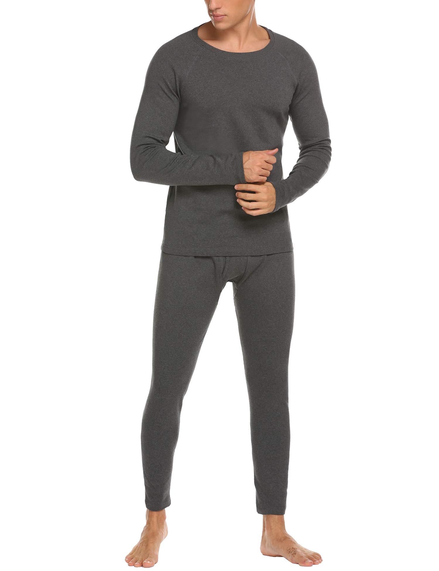MAXMODA Thermo Unterwäsche Set Hemd/Hose oder 2 Stück Lange Thermo-Unterhemden oder Thermo-Unterhosen angeraut anthrazit oder grau -tolle Skiunterwäsche für Herren