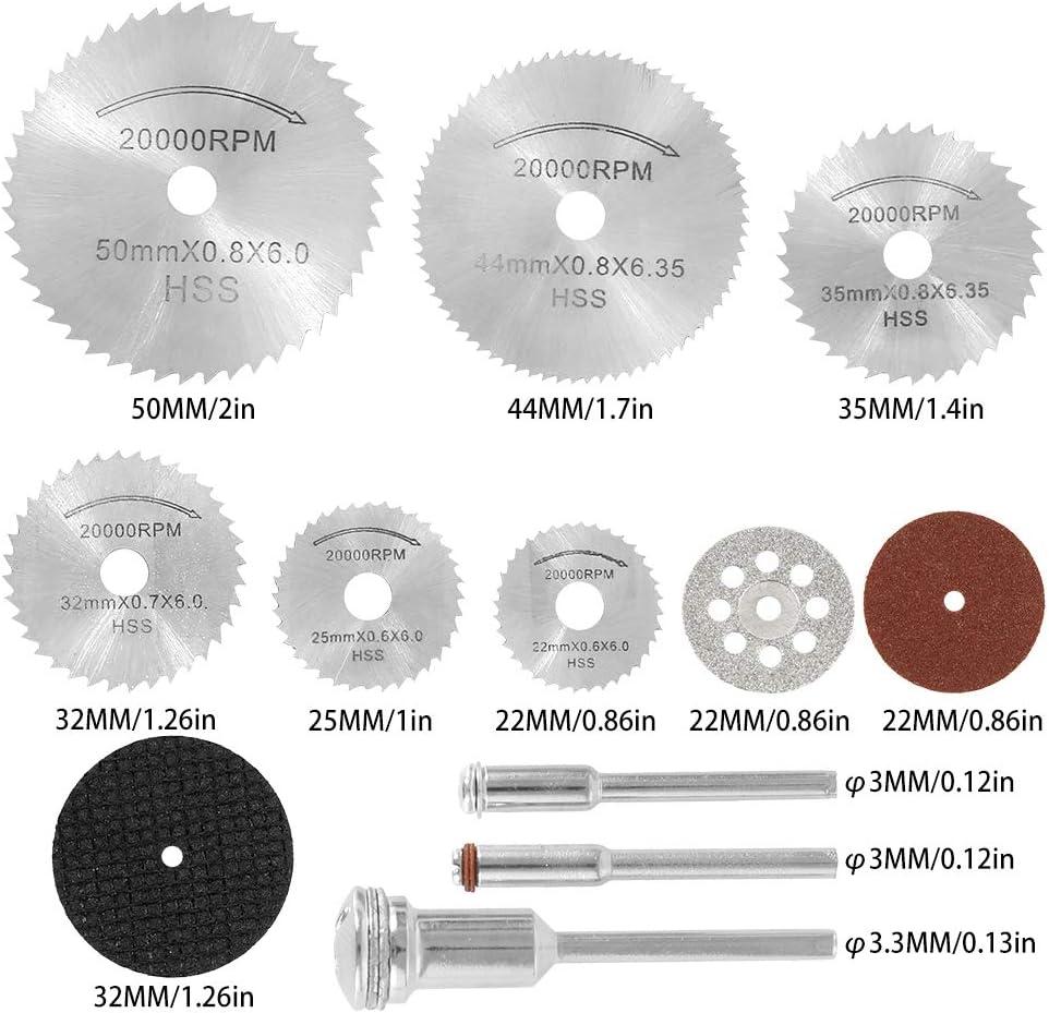 10pz 2.5cm Dischi Diamantati Mini di Tagliante Sega 6pz 2.2-5cm HSS Seghe Circolari Lame 40pz 3.2//2,4cm Mini Dischi da Taglio di Resina per Legno Pietra Metallo 61 Pezzi Dischi Taglio
