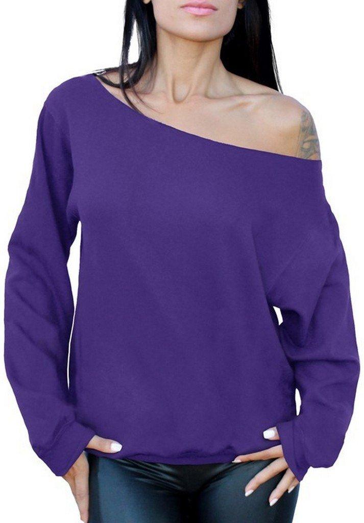 Awkwardstyles Women's Sexy Off The Shoulder Slouchy Oversized Sweatshirt S Purple