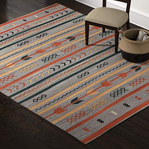 Stone Beam Casual Geometric Cotton Area Rug, 8 x 10 Foot, Flatweave, Grey, Orange, Blue