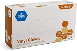 Medpride Vinyl Gloves| Medium Box of 100| 4.3 mil Thick, Powder-Free, Non-Sterile, Heavy Duty Disposable Gloves| Professional Grade for Healthcare, Medical, Food Handling, and More