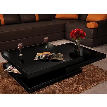 Festnight Table Basse de Salon avec 3 Plateaux Carrée Noir laqué ...