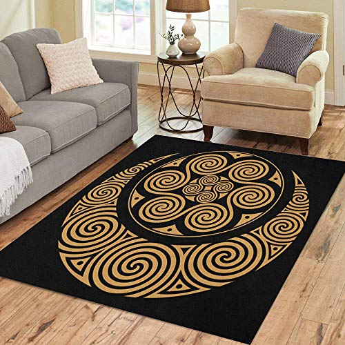 Semtomn Area Rug 2' X 3' Goddess Spiral Celtic Moon and Sun Black Horned Astrology Home Decor Collection Floor Rugs Carpet for Living Room Bedroom Dining Room