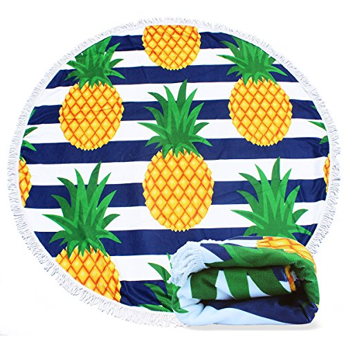 Filly Wink Round Beach Towel Pineapple, Microfiber Large Roundie Thick Beach Blanket Tapestry Throw Yoga Picnic Mat with Tassels Ultra Soft Room Decor Multi-Purpose Towel 59 inch