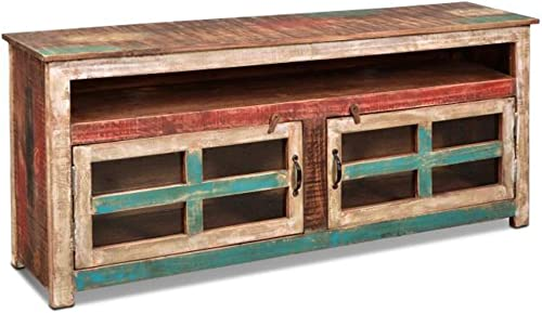 Crafters Weavers La Boca Rustic Style Sold Wood 65 Wide Tv Stand with Glass Doors