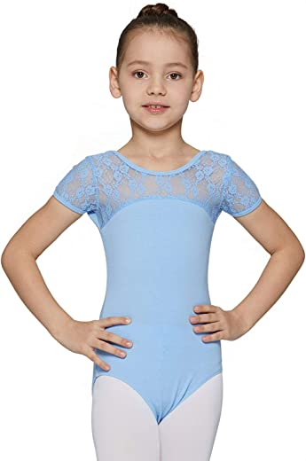 MdnMd Girls Ballet Dance Neck Lace Leotard for Toddler Gymnastic With Bow Back Detail Cap Sleeve