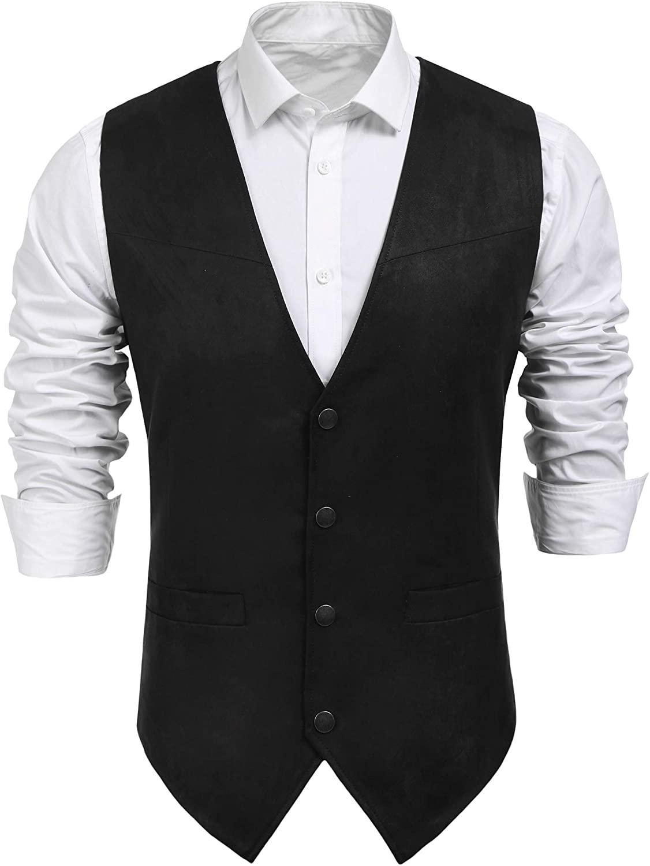 Men's Steampunk Vests, Waistcoats, Corsets COOFANDY Mens Suede Leather Suit Vest Casual Western Vest Jacket Slim Fit Vest Waistcoat $33.99 AT vintagedancer.com