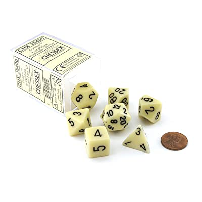 Chessex CHX25400 Dice-Opaque Ivory/Black Set, Multicolor: Toys & Games