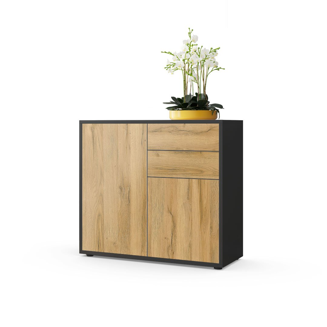 Front in Oak Nature Carcass matt Vladon Cabinet Chest Drawers Ben, Carcass in Black matt Front in Black matt