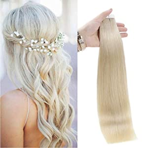 Full Shine Fashion Tape Hair Extensions Real Human Hair Couture Short 12 Inch Color #60 Platinum Blonde Tape In Remy Extentions 20 Pieces 30G Full Thick Ends Hair Piece For Invisible Tape Extensions