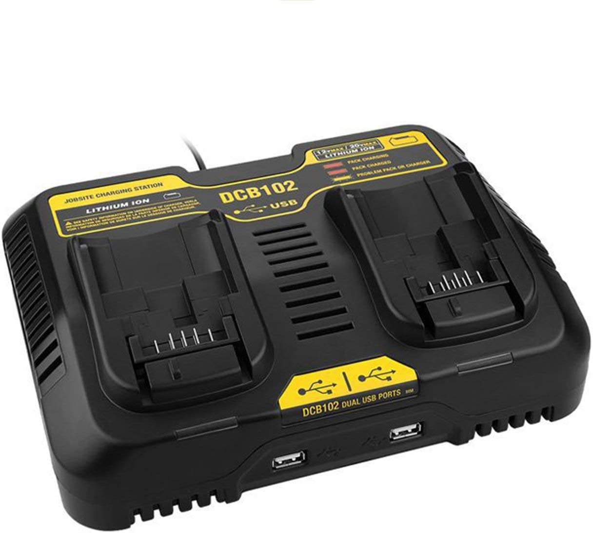 Elviray 10.8V-20V Dual USB Lithium Li-Ion Universal Rechargeable Battery Charger Pack Power Tool For Dewalt DCB102 Charging Station