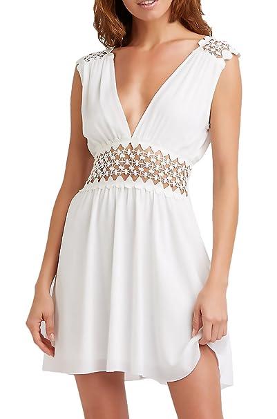 ... Espalda Casuales Mujeres Descubierta Cintura Alta Hollow Fashion Chic Vestidos Fiesta Mini Vestido Vestido Playa Blanco: Amazon.es: Ropa y accesorios