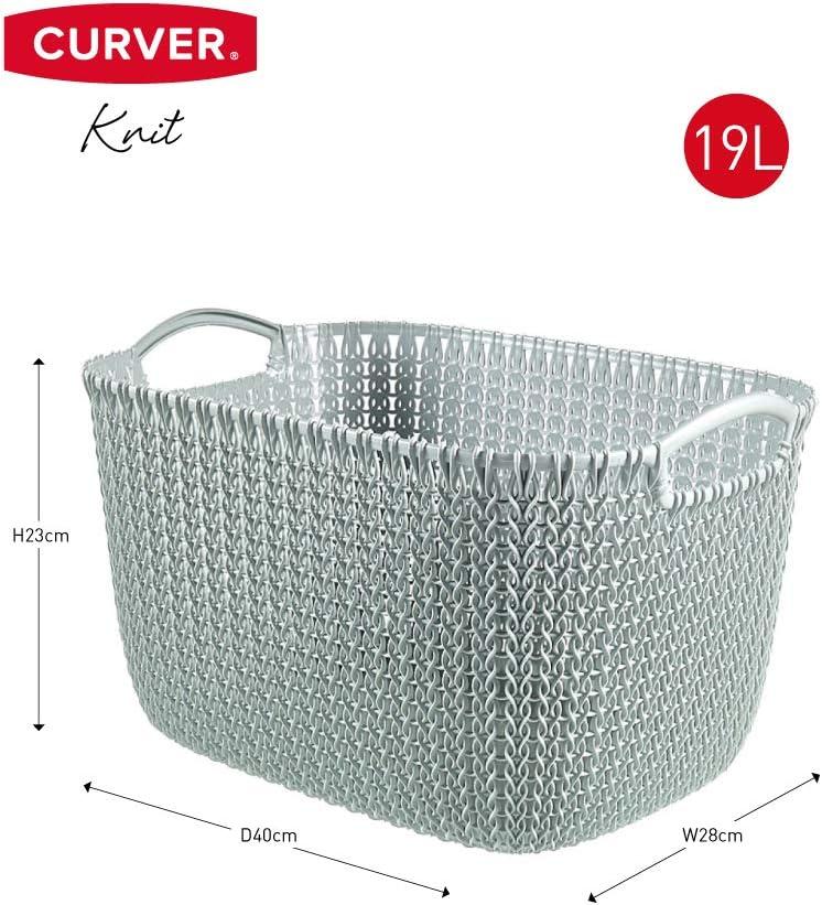 Knit Blanc cass/é Pani/ère de rangement rectangulaire 19L Tricot CURVER 39,6x28,8x23,6 cm 2e g/én/é