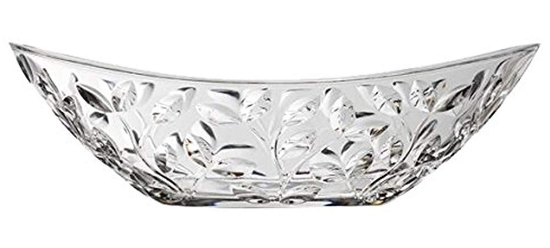 Elegant Crystal Serving Oval Bowl with Beautiful leaf design, Centerpiece For Home,Office,Wedding Decor, Fruit, Snack, Dessert, Server le'raze