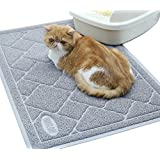 "Vivaglory Cat Litter Mat, Keeping Kitty Litter Mess Under Control, Large(35""×23"") Enough for Cat Litter Box, BPA & Phthalate Free, Durability, Soft on Paws, Easy to Clean, Grey"