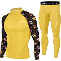 Men's Workout Set Compression Shirt and Pants Top Long Sleeve Sports Tight Base Layer Suit Quick Dry & Moisture-Wicking