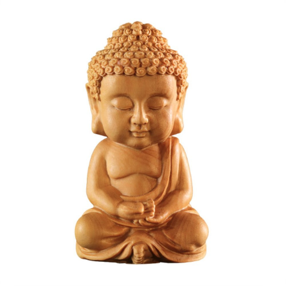 EBISSY Hand Carved Small Cute Sitting Buddha Statue Wood [ Palm Size Home Decor ] (Sitting Buddha)