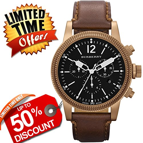Burberry Utilitarian SWISS LUXURY Round Gold Chronograph Brown Ionic Plated Band 42mm Black Date Dial Unisex Men Women Watch BU7814