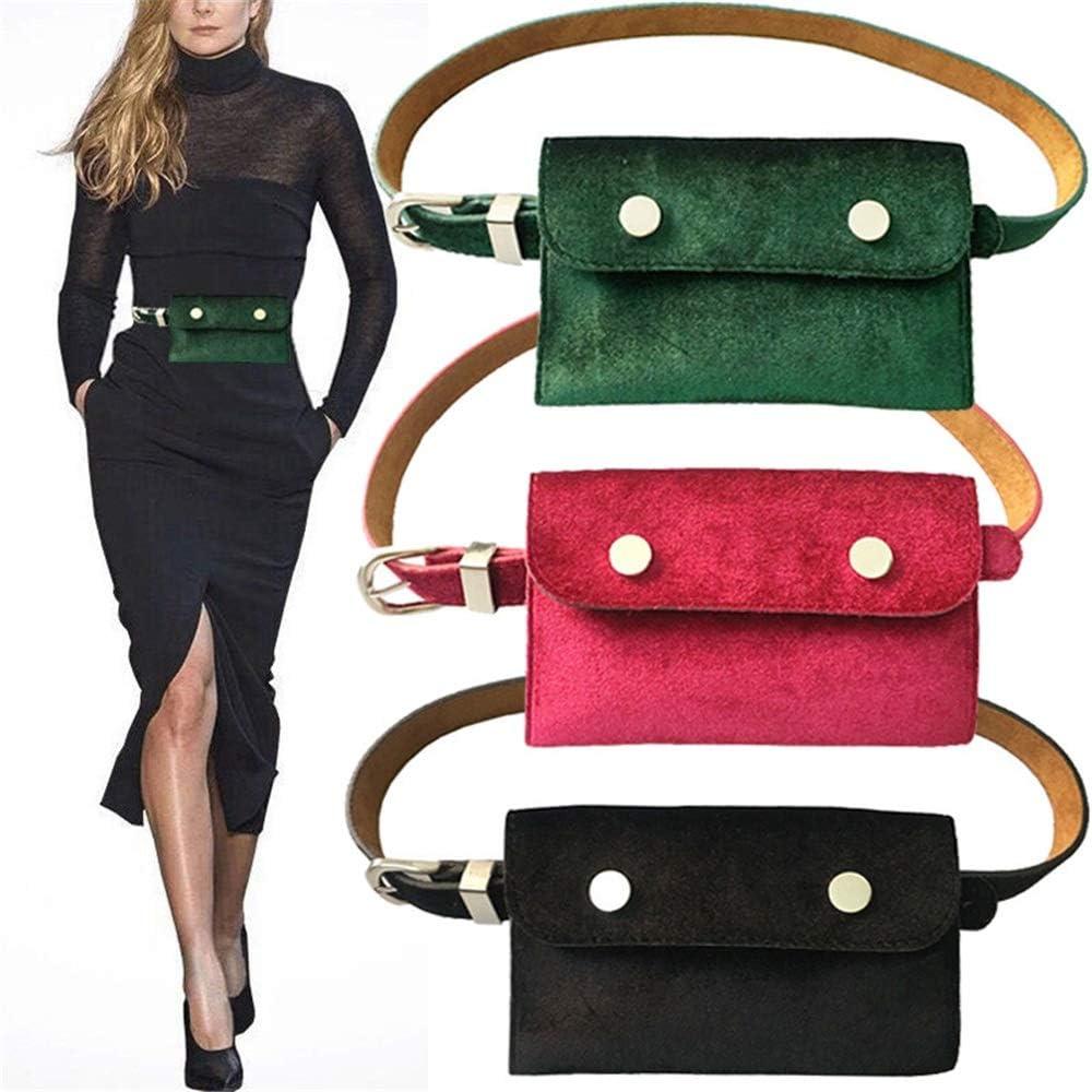 Shengjf-belt Ceinture pour Femmes à Double Usage Ceinture téléphone Portable clé Robe Portefeuille Haut de Gamme, Boucle Durable et Couture Solide (Color : Green) Red