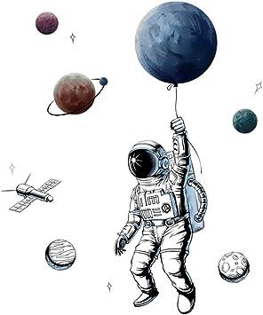 Sayopin Adesivo Murale 3d Astronauta Adesivo Da Parete Come Decorazione Murale Per Camera Da Letto Soggiorno Camera Dei Bambini Arte Fai Da Te Decorazioni Per Casa Adesivi Murali 125x84cm Amazon It Fai Da